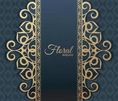 fondo de marco floral decorativo dorado de lujo vector