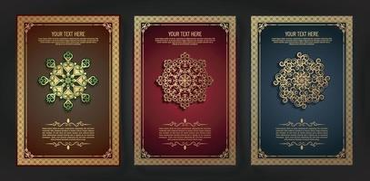 Luxury greeting card with mandala motif and border in retro style vector