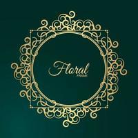 Luxury Gold round floral frame design vector