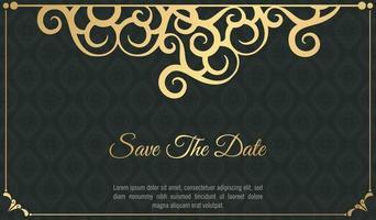Fancy ornament dark style wedding invitation vector