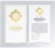 Luxury white business card and vintage ornament logo vector template. Retro elegant flourishes ornamental frame design and pattern background.