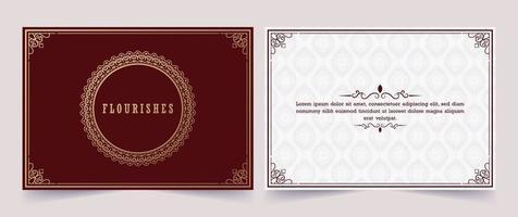 adorno vintage tarjeta de felicitación caligrafía ornamentada remolinos y viñetas vector
