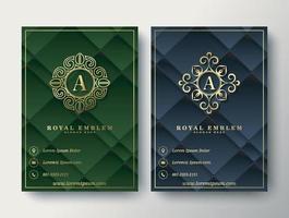 Plantilla de adorno de logotipo y cubierta de negocio abstracto geométrico de lujo vector