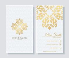 Plantilla de tarjeta de visita de lujo con diseño de adornos vector