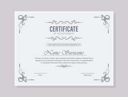 Classic certificate of achievement award template vector