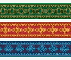 Henna banner border with colorful border vector