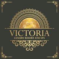 plantilla de etiqueta de hotel de lujo. Ilustración de marcos de adorno real vintage de moda. vector