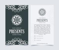 Luxury business card and vintage ornament logo vector template. Retro elegant flourishes ornamental frame design and pattern background.
