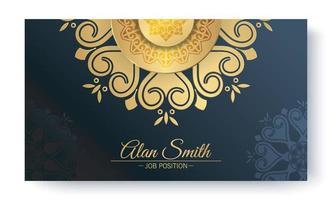 Luxury blue mandala business card template vector