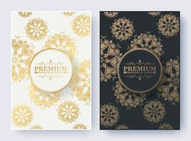 Luxury mandala cover in white and dark color vector