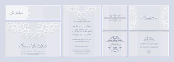 Set of wedding invitation card with floral ornaments vector