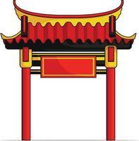 puerta de entrada china puerta de la casa dibujo vectorial tradicional de dibujos animados vector