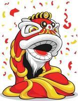 año nuevo chino danza del león dibujos animados acróbata dibujo vectorial vector