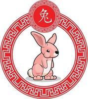 Chinese Zodiac Sign Animal Rabbit Bunny Cartoon Lunar Vector Drawing