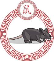 Chinese Zodiac Sign Animal Rat Mouse Cartoon Lunar Astrology Drawing vector