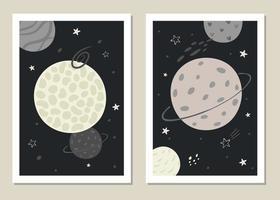 Conjunto de vectores de moda para niños de ilustraciones del tema espacial en estilo minimalista.