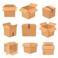 conjunto de cajas de cartón aisladas sobre fondo blanco. ilustración vectorial vector