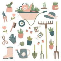 Collection of gardening tools and items, cart, watering can, pitchfork, rake, potted flowers, gardening gloves, pruner, scissors, seeds. Gardening design. vector