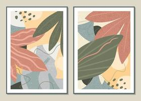Botanical set vector wall art. Abstract pattern of flowers and branches for collages, posters, covers, ideal for wall decoration. Vector