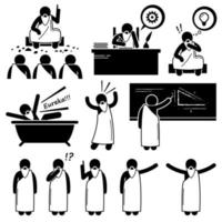 filósofo griego antiguo científico anciano figura de palo pictograma iconos. vector