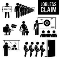 Jobless Claims Unemployment Benefits Stick Figure Pictogram Icons. vector