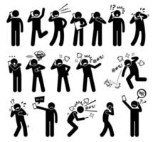 People Expressions Feelings Emotions While Talking on a Cellphone Stick Figure Pictogram Icons. vector