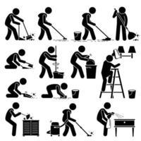 Cleaner Cleaning and Washing House Pictogram. vector
