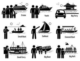 Water Sea Transportation Vehicles and People Set. vector