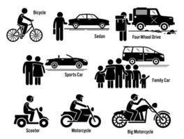 Land Personal Transport Transportation Vehicles Set. vector