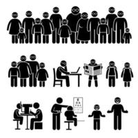 People Children Family Wearing Glasses Stick Figure Pictogram Icons. vector