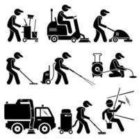 trabajador de limpieza industrial con herramientas y equipos iconos de pictogramas de figura de palo. vector