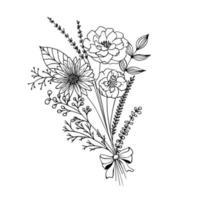 ramo de flores de primavera con lazo. arreglo floral del vector de la decoración del Doodle aislado en el fondo blanco.