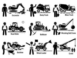 transporte de vehículos de construcción y conjunto de trabajadores. vector
