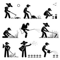 Gardener and Farmer using Gardening Tools and Equipment for Work. vector