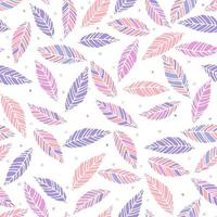 Vector illustration of pink and lilac leaves seamless pattern. Hand drawn leaf and hearts texture. Element design.