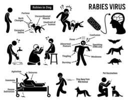 virus de la rabia en los iconos de pictogramas de figura de palo de humanos y animales. vector
