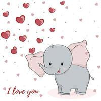 Cute elephant with heart hand drawn vector illustration. Can be used for kids wear and element design.