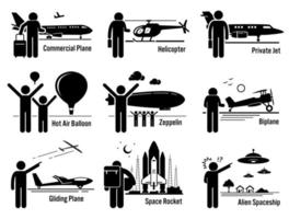 Air Transportation Vehicles and People Set. vector