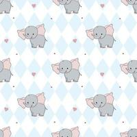 Hand drawing sweet elephant pattern illustration vector. Print for kids. vector