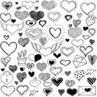 Collection doodle heart. Romantic stickers collection. Love theme simple sketches for web design or printed products. vector