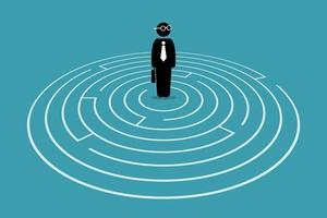 Businessman standing in the center of a maze. vector
