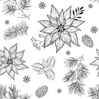 Christmas seamless pattern with hand drawn branches, cones, poinsettia flowers and snowflakes on white background. vector