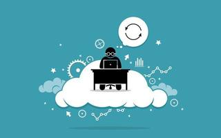Man working with computer on the cloud. vector