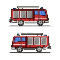 Firetruck Illustrated On White Background vector