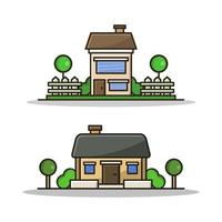House Illustrated On Background vector