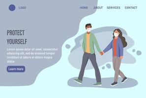Coronavirus protection website home page or landing page template vector