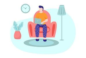 A young man is working on a laptop and sitting on the sofa vector