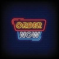 Order Now Neon Signs Style Text Vector