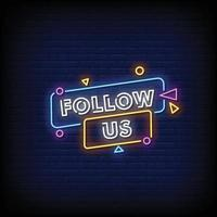 Follow Us Neon Signs Style Text Vector