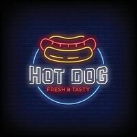 Hot Dog Neon Signs Style Text Vector